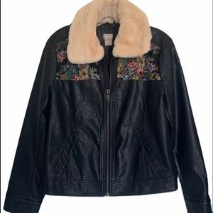 Chico's Jackets & Coats - CHICO'S FAUX LEATHER FLORAL JACQUARD JACKET